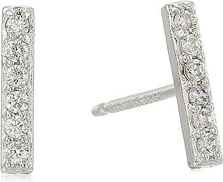 纯银方晶锆石条耳钉