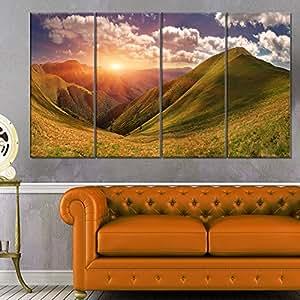 Designart Sunrise Over Green Mountains - 景观照片帆布艺术印刷品 绿色 28'' Hx48'' Wx1'' D 4P PT9599-271
