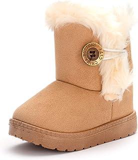 ENERCAKE 女婴保暖冬季短靴防滑一脚蹬毛皮衬里户外雪地靴(幼儿/小童) E-khaki 10 Toddler