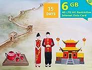 6GB,15天无限制 4G LTE 中国快速互联网数据SIM卡,可访问所有网站和应用,如 Google、Facebook、Twitter、Instagram、Snapchat 和 YouTube 。