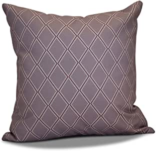 E by Design Diamond 圆点格子印花户外枕头 紫色 16L x 16W x 3H in. O5PHGN670PU14-16