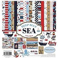 Carta Bella Paper Company CBDB102016 深藍色海洋收集套件紙,紅色,*藍,白色