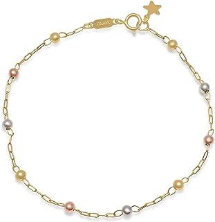 Pori Jewelers 14K 纯金 3.0 毫米串珠球手链 - 19.05 厘米 - 意大利制造 - 选择您的吊坠和颜色