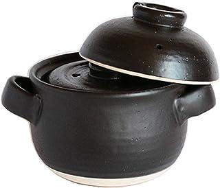 佐治陶器 米饭锅 黑 19.5cm 万古烧 电饭锅 (带中盖) 4合 黑莲 33-102