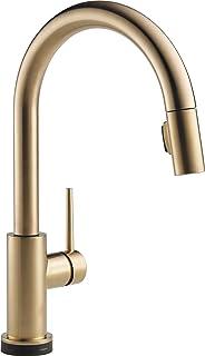 Delta 水龙头 Trinsic 单把手厨房水槽水龙头 带下拉式喷雾器和磁性对接喷头 香槟铜色 9159TV-CZ-DST