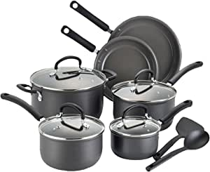 T-fal C718SC Precision Stainless Steel Ceramic Nonstick PTFE-PFOA-Cadmium Free Dishwasher Safe Oven Safe Cookware Set, 12-Piece, Silver