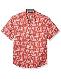 Nautica 男士帆船印花短袖亞麻紐扣襯衫