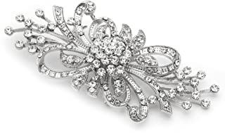 Mariell Vintage Spray Bridal Crystal Brooch Pin - Top Selling Antique Silver Rhinestone Fashion Brooch