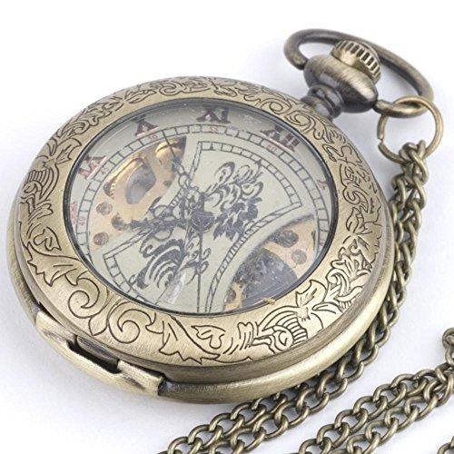 81stgeneration Women's Brass 复古风格机械口袋手表链项链, 78 cm