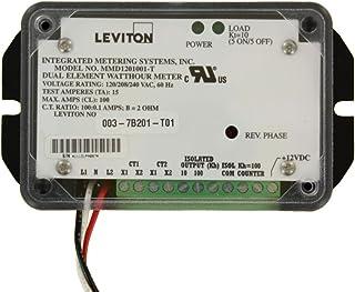Leviton 7B201-T01 双元素,2PH,3W,120V,单个,0.1 kWh 和 0.01 kWh 隔离输出和 0.1 kWh 计数器输出,100:0.1 kWh 计数器输出,100:0.1,黑色