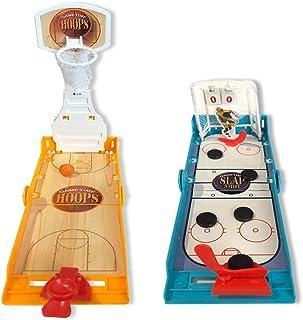 Gamie 迷你桌面运动游戏,2 件套,1 个篮球框游戏和 1 个冰球拍游戏,儿童室内手指折叠游戏,成人办公桌玩具,体育派对用品