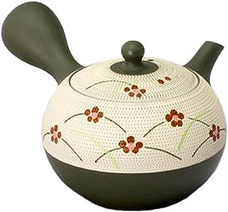常滑烧8-197 春秋10号绿白百合结草带茶壶 AM-T1478