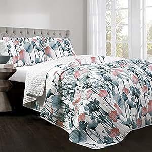 Lush Decor Zuri Flora 3 件套,双人床/中号双人床,蓝色和珊瑚色 Blue & Coral Full/Queen 16T002491