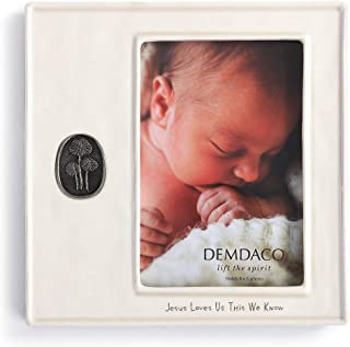 DEMDACO Jesus Loves Us 经典白色 17.78 x 17.78 cm 陶瓷陶瓷耳塞徽章框
