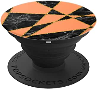 几何抽象黑色大理石橘色图案 PopSockets 手机和平板电脑握把和支架260027  黑色