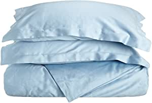 Impressions Genuine Egyptian Cotton 300 Thread Count Twin 2-Piece Duvet Cover Set Solid, Light Blue