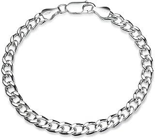 纯银高抛光意大利 5 毫米弧形古巴链式手链,17.78 厘米