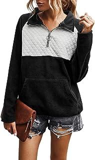 女式纽扣领绗缝套头运动衫拼接肘部补丁上衣外套 Fleece Black X-Large