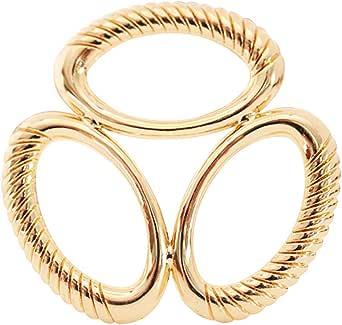 S&E 女式优雅椭圆形三层围巾夹,时尚金属色围巾带扣真丝戒指(金色)