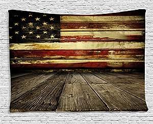 美国挂毯 ambesonne 复古美国国旗 ON 木制 planks 墙背景摇滚风格印花壁挂适合卧室客厅宿舍 umber CREAM 红色蓝色