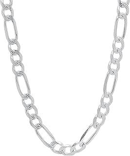 5.5mm 925 Sterling Silver Nickel-Free Diamond-Cut Figaro Link Italian Chain + Bonus Polishing Cloth