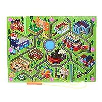 O-Toys 儿童迷宫木质拼图活动磁铁玩具串珠棋盘游戏套装,男孩女孩学习教育玩具,带磁棒,适合幼儿学龄前儿童 City Traffic