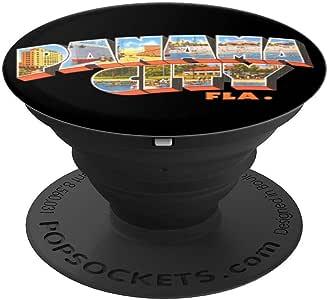 巴拿马城市佛罗里达州 FL 复古纪念品 PopSockets 手机和平板电脑握架260027  黑色