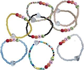 Pingyongchang 8 件彩色字母串珠手链可堆叠拉伸彩虹珠手链手镯*佳朋友情侣礼物
