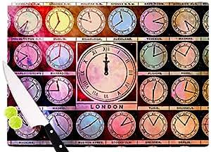 "KESS InHouse Suzanne Carter""Time Space Rainbow Black"" 砧板,29.21 x 40.01 厘米,多色"