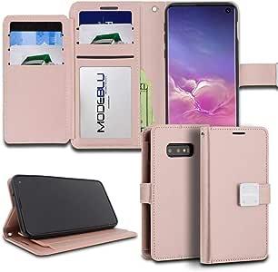 Galaxy S10e 手机壳,ModeBlu【日记系列】钱包式证件信用卡现金插槽高级合成皮革【支架视图】适用于三星 Galaxy S10e Essential Mode Rose Gold