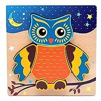 Wood Owls 儿童拼图形状木制拼图玩具,幼儿