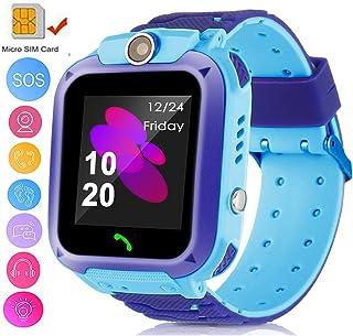 TOPCHANCES 儿童 GPS 智能手表追踪手表带遥控相机防水婴儿手表 SOS SIM 呼叫位置设备追踪器适合儿童* Dark Blue +Light Blue