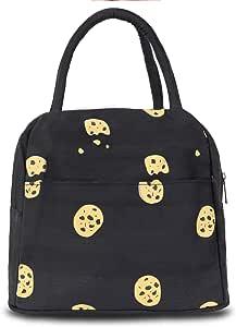 HOMESPON 可重复使用午餐袋印花帆布包杂物包手提包隔热午餐手提袋适合女士、儿童、学生、成人上学、购物、露营 black cookies black cookies