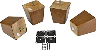 "ProFurnitureParts 4"" Inch Medium Walnut Finish Square Tapered Pyramid Wood Sofa Legs Set of 4 W/Leg Plates"