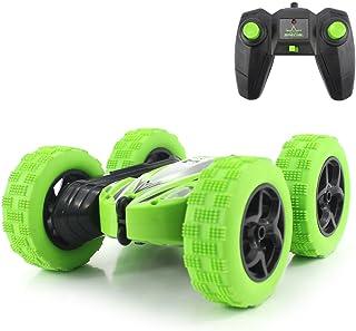 Fisca RC 汽车遥控特技汽车,4WD 怪物卡车双面旋转滚轮 - 2.4GHz 高速摇滚爬行车 带前灯,适合 4 岁、6 岁、7 岁、8 岁、9 至 12 岁的男孩
