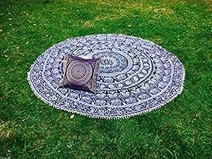 印度孔雀曼陀罗圆形挂毯嬉皮吉普赛沙滩毯瑜伽垫波西米亚纯棉毛球 175.25 厘米.