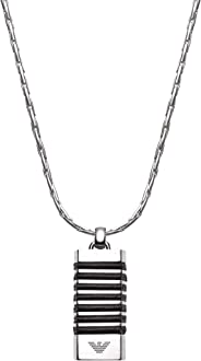Emporio Armani 安普里奧·阿瑪尼傳統鋼和皮革條紋項鏈,帶禮盒