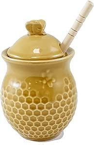 "Beehive Honey 罐,带木钳 Honeycomb - 4.5""H 4335511754"