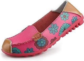 Ablanczoom 女式舒适皮革花卉印花平底鞋休闲驾驶乐福鞋女式步行鞋 玫瑰红 11.5