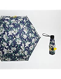 Yandex五折伞轻迷你防晒口袋伞晴雨两用遮阳伞防晒防紫外线女神太阳伞 (百合花图案)