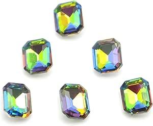 Catotrem 玻璃镶钻切面八角形水钻尖背石用于艺术工艺品 13X18mm 50 件 Vitrail Medi 10x14mm