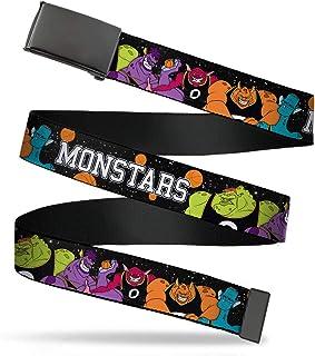 Buckle-Down 帆布腰带纯色夹扣 Space Jam Monstars 5 名玩家姿势银河黑白灰男式女式儿童