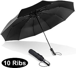 ESEOE 旅行雨伞大雨伞防风防水紧凑折叠黑色雨伞 1 秒内自动开合伞(10 根伞)