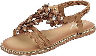 meeshine 女式丁字鞋串珠花朵角斗士平底凉拖沙滩鞋