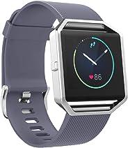 SKYLET 兼容带边框的 Fitbit Blaze 腕带,硅胶替换腕带,透气运动表带,兼容 Fitbit Blaze 健身手表,女式,黑色