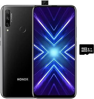 Honor 9X(128GB,6GB)6.59英寸,3 个 AI 摄像机,4000mAh 电池,双卡 GSM 解锁美国 + 全球 4G LTE 国际型号 STK-LX3 128GB + 64GB SD + Case Bundle 黑色