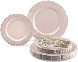 适用场合 360 件/ 60 名客人婚礼一次性塑料板和银色组合套装 Chateau Blush 720 pcs (120 guests)