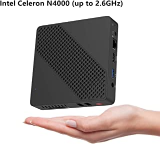 无风扇迷你电脑 Intel Celeron N4000 ( 高达 2.6GHz) 4GB LPDDR4 /64GB eMMC 迷你台式电脑 Windows 10 HDMI2.0 和 VGA UHD Graphics 600 2.4/5.8G 双 WiFi/1000Mbps LAN BT4.2 3xUSB3.0,自动开机