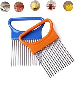 洋葱夹子用于切西红柿蔬菜柠檬土豆切片机不锈钢切割厨房小工具洋葱削皮器 银色 2 Pieces CJ07164-2/GA