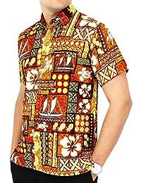 LA LEELA 男式夏威夷襯衫短袖系扣休閑沙灘派對